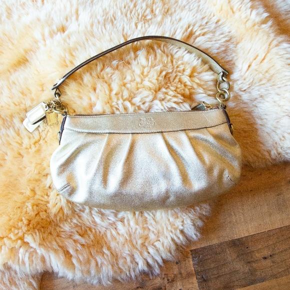 Coach Handbags - Gold Metallic Leather Coach Mini Shoulder Bag